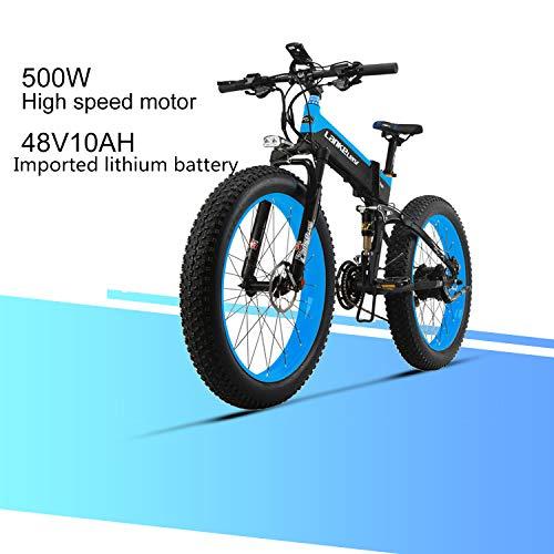 LANKELEISI XT750 Plus 48V 10AH 500W Engine New Almighty Powerful Electric Bike 26 '' 4.0 Fat tire E-Bike 27 Speed   Snow MTB Folding Electric Bike for Adult Female/Male (Blue)