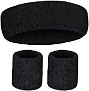 Bands Headband Wristbands Set (2 Wrist Bands 1 Head Band) for Sports Comfortably Also Gifts for Valentine'