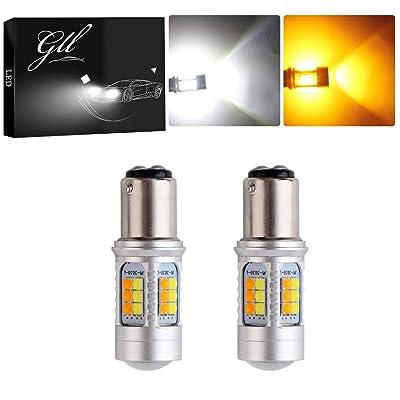 GLL 1157 BAY15D 3030 30 SMD Amber/White Switchback Turn Signal LED Light Bulbs 4.2W 12V LED Super Bright 1000 Lumens 6000-6500K Brake Light Lamp (Pack of 2): Automotive