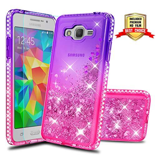 Atump Galaxy Grand Prime Phone Case J2 Prime Cases with HD Screen Protector, Fun Glitter Liquid Diamond Cute TPU Silicone Protective Cover Case for Samsung Galaxy J2 Prime G530 Purple/Rose (Best Phone Case For Galaxy Grand Prime)
