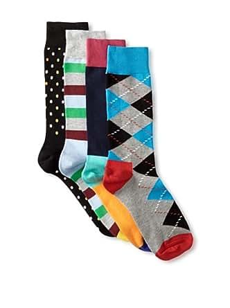 Happy Socks Stripe, Polka Dot, Argyle & Solid Men's Dress Socks Gift Box 4 Pack