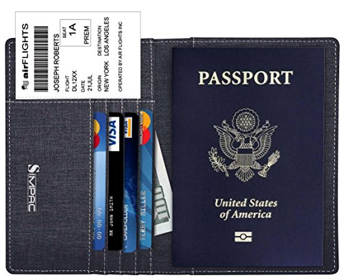 SimpacX Fabric Passport Holder Wallet Cover Case RFID Blocking Travel Wallet (black)