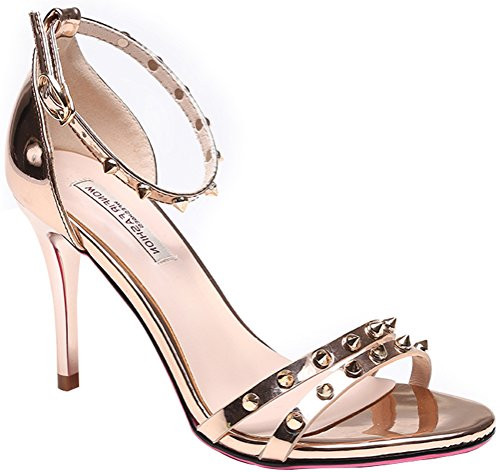 T&Mates Womems Summer Elegance Ankle Strap Rivets-Studded Stiletto Heel Sandals (5.5 B(M)US,Gold)
