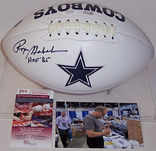 Roger Staubach Autographed Hand Signed Dallas Cowboys Full Size Logo Football - with Hall of Fame 1985 inscription - JSA 1985 Hall Of Fame