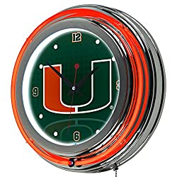 Trademark Gameroom University of Miami Chrome Double Rung Neon Clock - Reflections