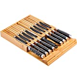 Utoplike In-Drawer Bamboo knife block Drawer Knife Organizer and Holder,Store up to 16 Knivies and 1 Sharpening Steel