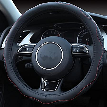 ISTN Mens Sport Style Contrast Color Non-Slip Sweat Good Breathable PU Leatherette 15 Inches Car Steering Wheel Cover Red