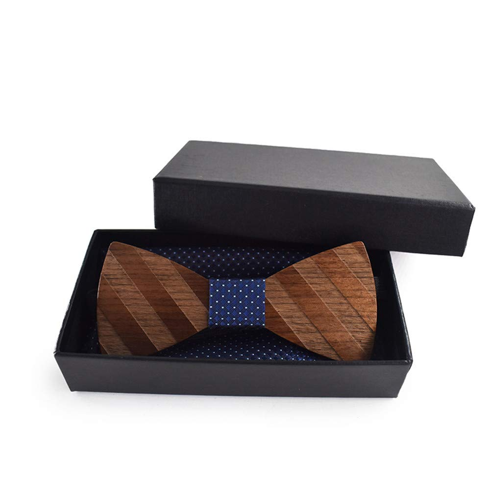 Halogus Elegant Adjustable Classic Wooden Bow Tie Suit Square Cufflinks Brooch Set Clothing Accessories Marry Stripe Wooden Bow Tie Gift Bow Tie with Box Mens and Womens