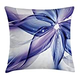Ambesonne Abstract Decor Throw Pillow Cushion Cover, Geometrical Smoke Like Striped Huge Flower Floral Design Artwork, Decorative Square Accent Pillow Case, 18 X18 Inches, Blue White and Purple