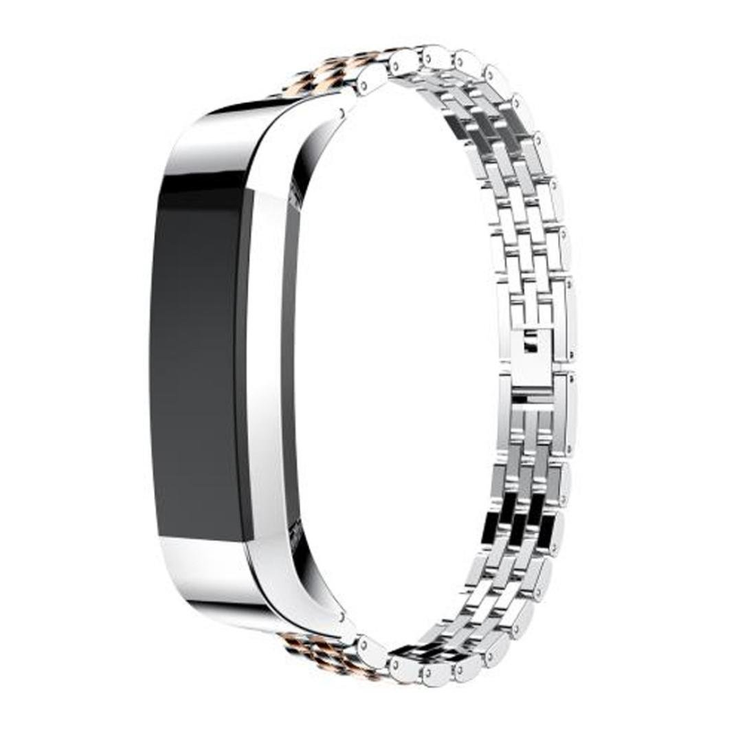 Binmer Genuine Stainless Steel Watch Bracelet Band Strap For Fitbit Alta HR Watch (Rose Gold)