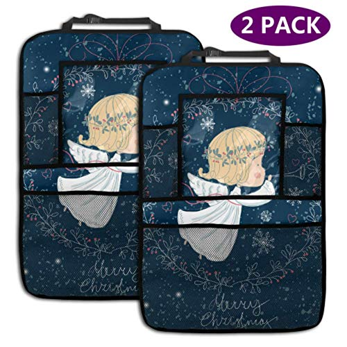 2 Pack Car Backseat Organizer Christmas Angel Trumpet Kick Seat Mats with Storage Pockets for Toy Bottle Book Drink Universal Fit Travel Accessories for Kid