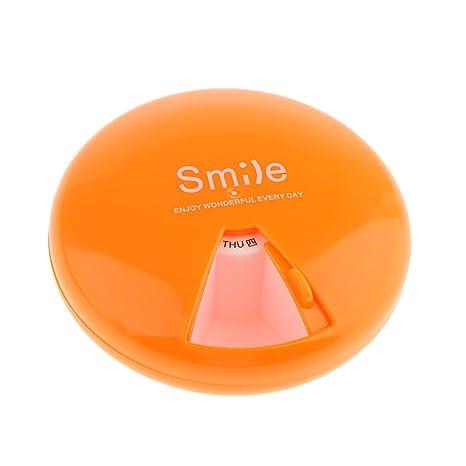 Baosity Caja Redonda de Almacenaje de Medicina Organizador de Vitaminas de 7 Días - Naranja