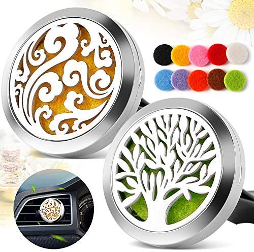 2pcs Car Air Freshener Aromatherapy Essential Oil Diffuser Vent Clip Cloud Tree Of Life Stainless Steel Locket Amazon Ca Health Personal Care