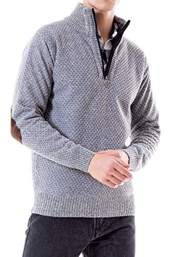 - WuhouPro Men's Quarter Zip Sweaters with Fleece AZ 1111 Gray XXL