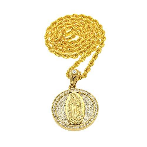 7232379eaf2b mcsays para hombre Joyería Collar Colgante De Hiphop Circular Madonna Maria  Full CZ Cobre Cadena de
