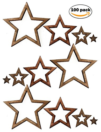Nesha Assorted Wooden Star Cutouts for Crafts 100 Pack Teak Paint