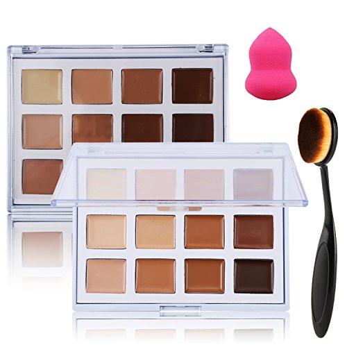 Lover Bar 12Farben Concealer Palette + Make-Up Oval Zahnbürste Foundation-Pinsel + Beauty Blender sponge-camouflage creme Contour Backset bis Textmarker bronzer-pro Face Base Full Deckung Sleek Corrector