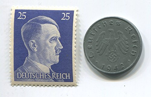 Rare Nazi Swastika 10 Reichspfennig German Coin World War Two WW2 with Jumbo Blue Hitler Head Stamp MNH (Coins World Rare)
