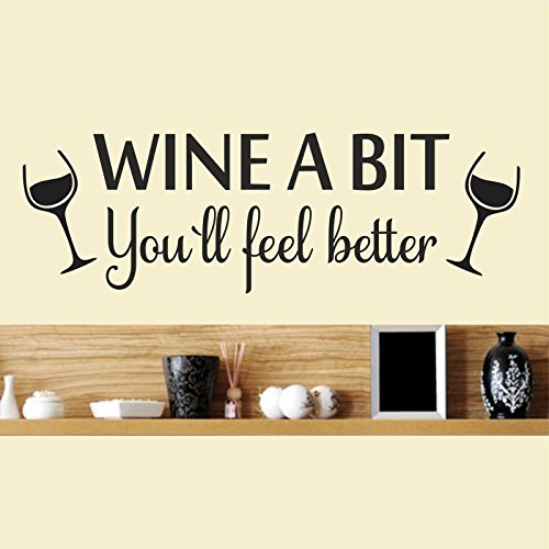 Bomeautify Creative English wine glass wall sticker living room restaurant removable decoration sticker 5722CM (Creative Wine Imaginations)