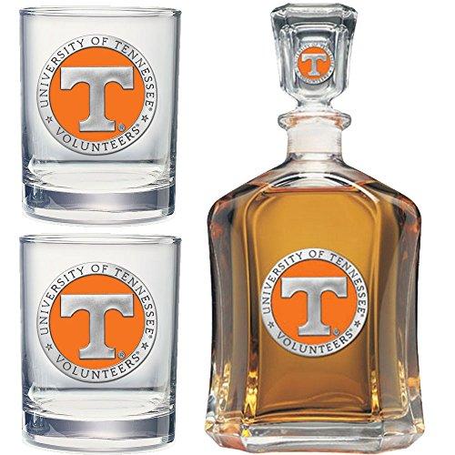 Heritage Metalwork Tennessee Volunteers Vols UT Decanter and Whiskey Rock Glasses Set ()