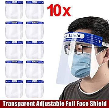 Lightweight Plastic Transparent Adjustable Safety Facial Protector 5 Pack Face Protective Visor Drops Pollen and Dust to Prevent Saliva
