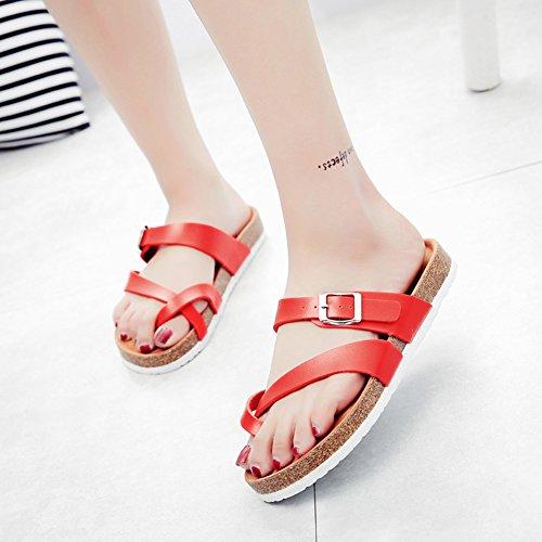 Mujer Planos Unisexo Zapatos de la playa Cómodos Sandalia Zapatos Planos sandalias del dedo del pie del clip Rojo