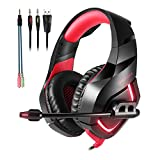 GBTIGER K1 Stereo Gaming Headset wit Mic, Over Ear USB Headphones for PC PS4 Computer Laptop Cellphone LED Light Soft Earmuffs 3.5mm Wired - Red