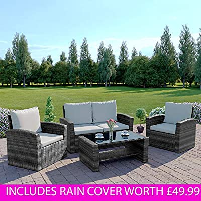 Abreo-Grey-4-Seater-Garden-Rattan-Sofa-Armchair-INCLUDES-RAIN-COVER-Set-with-Coffee-Table-Wicker-Weave-Conservatory-Dark-Mix-Grey-with-Light-Cushions