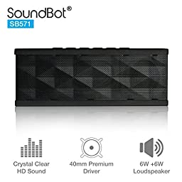 SoundBot® SB571 Bluetooth Wireless Speaker for 12 hrs Music Streaming & Hands-Free Calling w/ 6W + 6W 40mm Driver Speakerphone, Built-in Mic, 3.5mm Audio Port, Rechargeable Battery for Indoor & Outdoor Use