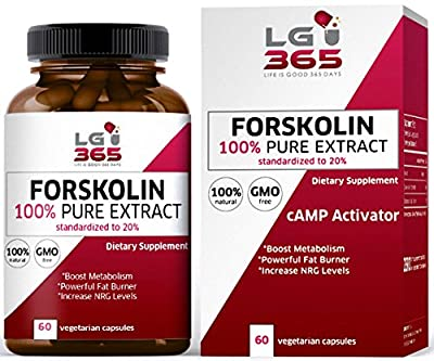 LG365Days Forskolin Weight Loss Extract Capsules, 100% Pure Forskolin Extract 500mg/d Diet Pills, Best Belly Fat Buster for Women and Men, Activate Cyclic AMP (cAMP) Molecule to Help Control Weight