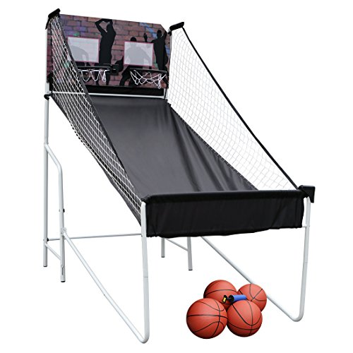Home Folding Double Electronic Hoops Shot Electronic Basketball Arcade Game for 2 Player