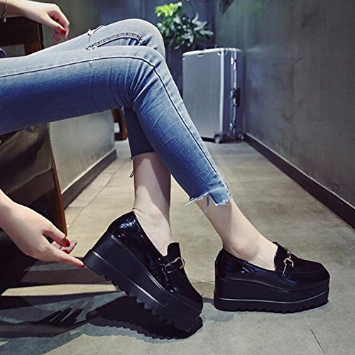KHSKX-Sponge Cake Thick 7Cm Black Single Shoes Female Korean Version Of Students With High-Heeled Fashion Ramp Painted Leather Small Leather Shoes 36