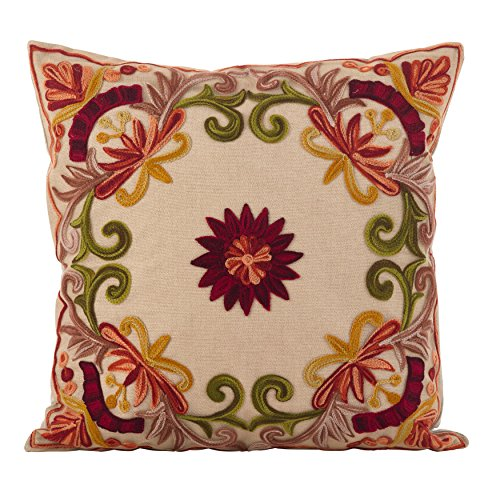 SARO LIFESTYLE Embroidered Floral Design Cotton Poly Filled Throw Pillow, 18