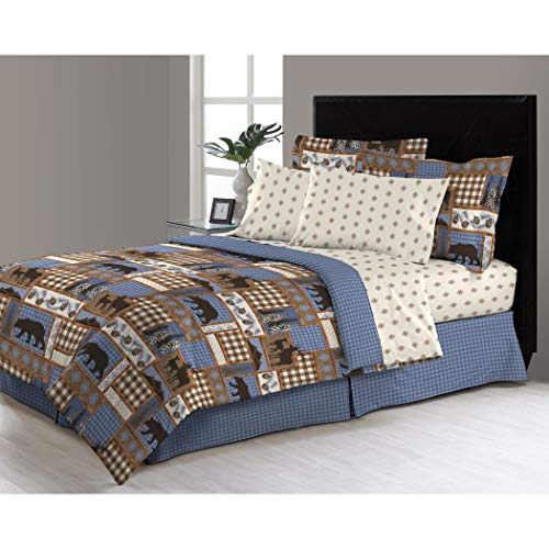DP 8pc Blue Tan Brown Hunting Themed Comforter Queen Set, Microfiber, Deer Bedding Moose Mountains Elk Pine Trees Comb Cabin Themed Lodge Plaid Lumberjack Pattern Wildlife Animals Woods Hunt Game