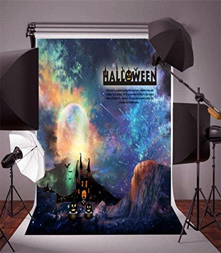 (AOFOTO 6x8ft Adult Photo Shoot Background Girl Photography Studio Backdrop Gloomy Halloween Castle Hill Scary Grimace Pumpkin Starry Sky Lover Artistic Portrait Digital Video Props)