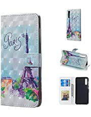 Glitter Wallet Case for Samsung Galaxy A50,QFFUN Bling 3D Pattern Design [Tower] Magnetic Stand Leather Phone Case with Card Holder Drop Protection Etui Bumper Flip Cover