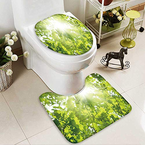 aolankaili 2 Piece Bathroom Mat Set Ecological Background Green Leaves of Oak,Bright Sun Personalized Durable