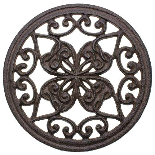 "Cast Iron Round Trivet with Vintage Pattern - Decorative Cast Iron Trivet For Rustic Kitchen Or Dining Table - 7 .25"" Diameter - With Rubber Pegs - Rustic Decor by Comfify"