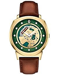 Bulova Accutron II Men's UHF Watch with Green Dial Analogue Display and Brown Leather Strap - 97A110
