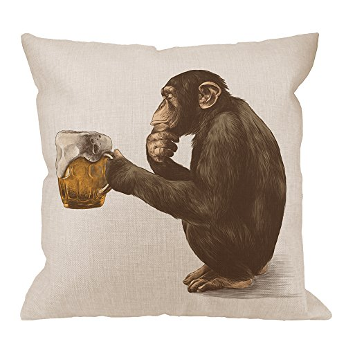 HGOD DESIGNS Gorilla Pillow Cover,Decorative Throw Pillow Monkey Sitting and Thoughtful Look A Glass of Beer Pillow cases Cotton Linen Square Cushion Covers For Home Sofa couch 18x18 inch Brown -
