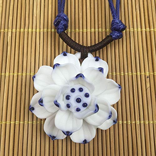 Porcelain Lady Blossom Handmade Necklace Jewelry Sweater Chain Ceramic
