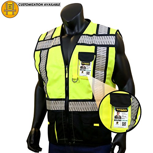 KwikSafety SPECIALIST | Class 2 Safety Vest | 360° Hi Viz Reflective ANSI Compliant Work Wear | Hi Vis Yellow Breathable Mesh 5 Pockets | Men Women Regular to Oversized Fit | Black L/XL