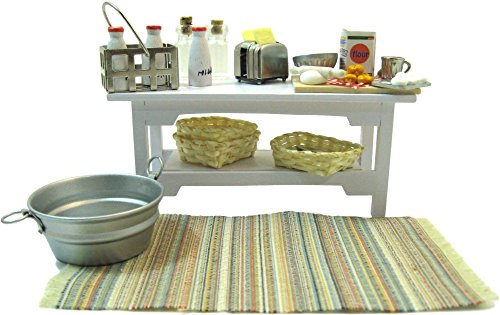 Kitchen Dollhouse Miniatures 1 12 Scale Accessories (Bundle of 29 Items - Side Table, Toaster, Rug, Baskets, Bread Making Supplies, Silverware, Milk,)