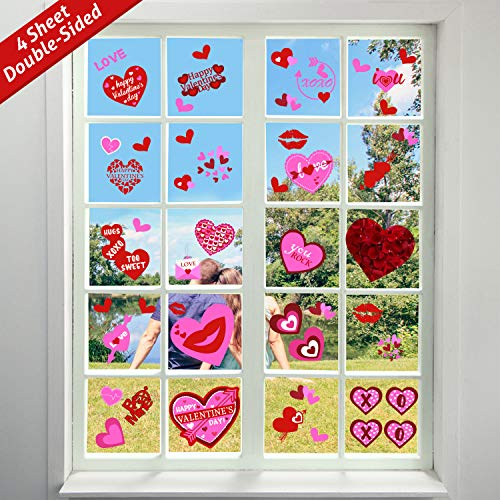 (Tifeson 100 PCS Valentine's Day Window Clings Heart Static Stickers Decal - Removable Valentines Window Decals - Valentines)