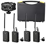 Saramonic Wireless VHF Lavalier Microphone Bundle with 2 Bodypack Transmitters, 2 Receivers, and 2-Ch Mixer for DSLR Cameras, Camcorders + More - 200' Wireless Transmission Range (Black/Black)