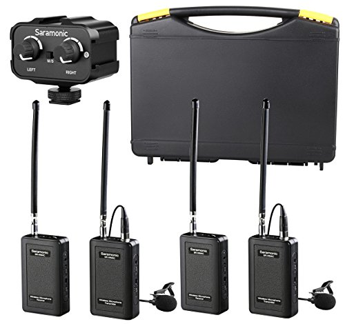 Saramonic Wireless VHF Lavalier Microphone Bundle with 2 Bodypack Transmitters, 2 Receivers, and 2-Ch Mixer for DSLR Cameras, Camcorders + More - 200
