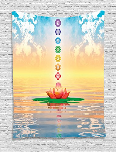 Chakra Flower - Ambesonne Chakra Decor Tapestry by, Chakra Icons in Sky from a Water Lily Lotus Flower in Sea Sacred Relax Theme, Wall Hanging for Bedroom Living Room Dorm, 40WX60L Inches, Blue Yellow