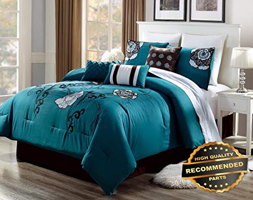 Ellyly Premium New 3PC Alex #3 Teal Brown White Flowers Embroidered Duvet Comforter Bed Cover Set | Style CMFTR-120218998 | King