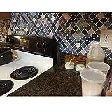 Self Adhesive Tiles,Peel and Stick Tile Backsplash for Kitchen Bathroom,Teal DIY Peel&Stick Waterproof Tile, Mosaic Backsplash Sticker,5 Sheets