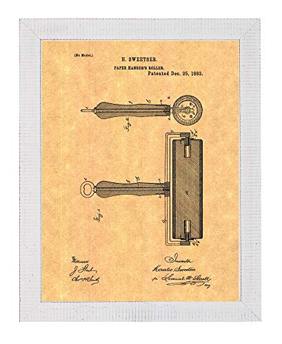 (Wallpaper Hanger Roller Patent Art Print in a Distressed White Wood Frame (18
